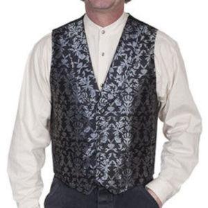 *Sold Scully Black & Silver Brocade Steampunk Vest